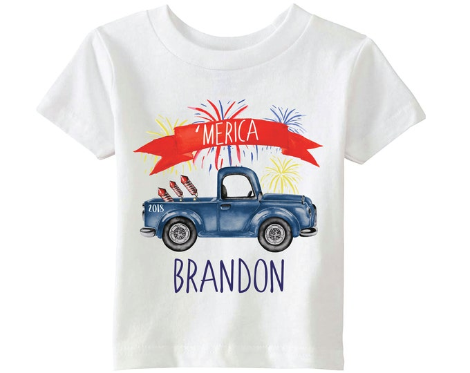 Merica Boy 4th of July Shirt Blue Truck 'Merica Personalized Fireworks Raglan T-Shirt 4th of July Old Blue Truck Boy Shirt