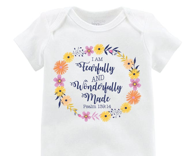 Fearfully and Wonderfully Made Newborn Coming Home Set Outfit Bodysuit Infant Outfit Wildflower Baby Leggings Top Knot Hat Knot Headband