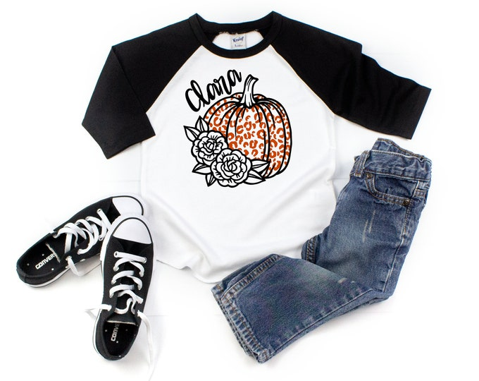 Girl Leopard Pumpkin Personalized Monogrammed Floral Shirt Halloween Raglan Fall Girl Black Orange Patch Shirt Shirt Monochrome Shirt Fall