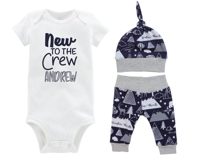 Boy New to the Crew Going Home Outfit Yoga Pants Bodysuit Personalized Adventure Mountains Coming Home Top Knot Hat Baby Shower Gift Newborn