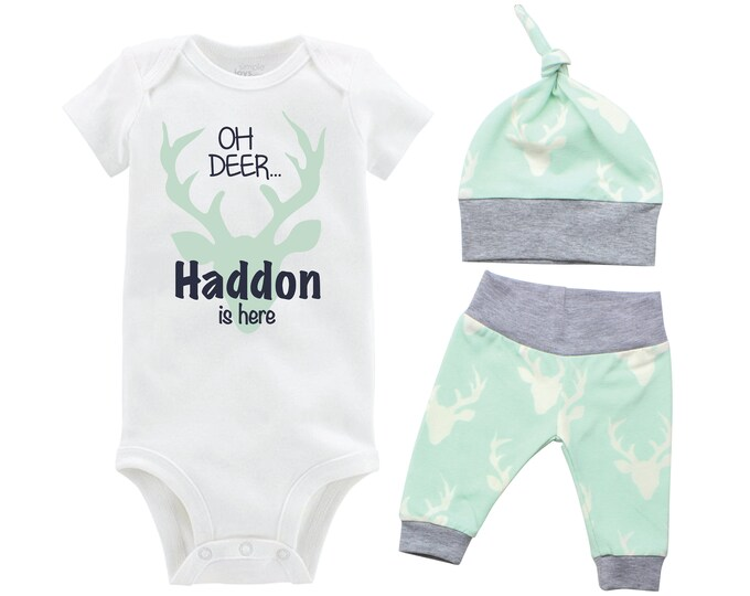Oh Deer Boy Going Home Set Oh Deer Mint Gray Onesie Bodysuit Infant Gift Set Personalized Boy Coming Home Outfit Mint Grey Baby Shower Gift