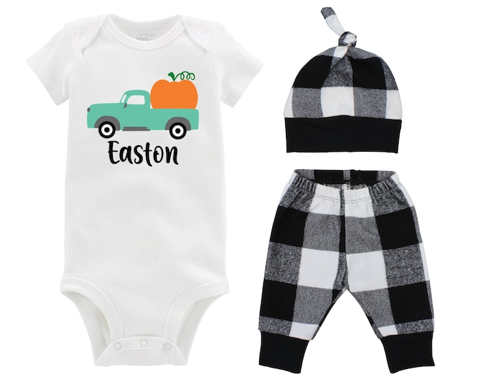 Boy Pumpkin Patch Outfit Personalized White and Black Buffalo Plaid Pants Fall Baby Outfit Old Vintage Pumpkin Truck Fall Baby Boy Outfit