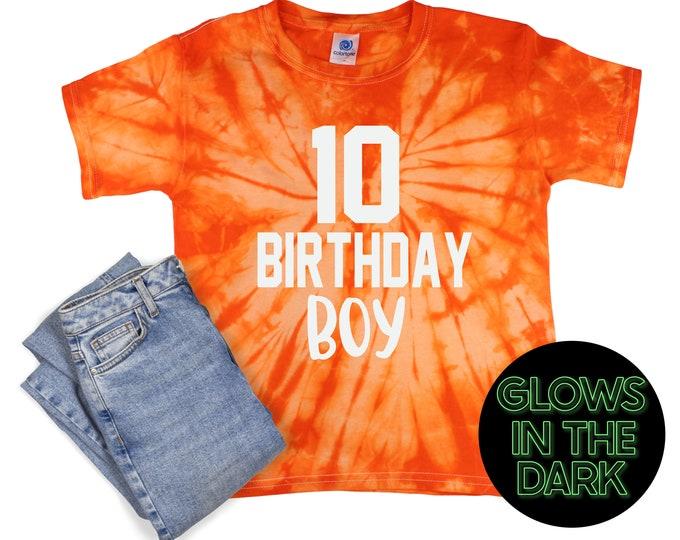 Birthday Boy Tie Dye Glow in the Dark Shirt Orange Spider Age Birthday Party Shirt Boy Birthday Orange Spiral Year Unisex Tie Dye T-Shirt