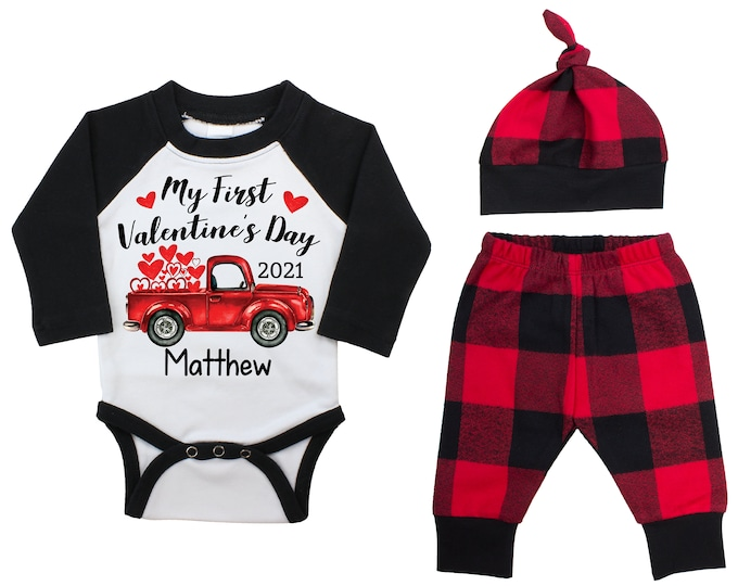 My First Valentine's Day 2021 Truck Personalized Raglan Outfit Boy Valentines Day Bodysuit Hearts Vintage TruckBuffalo Plaid Flannel Pants