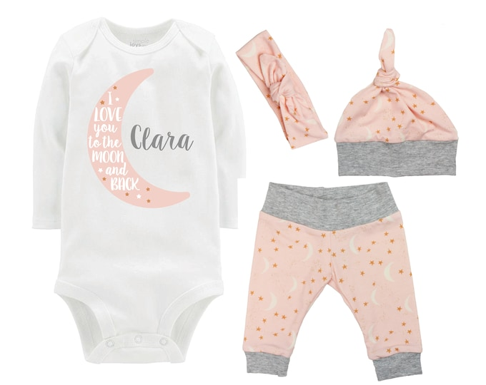 Girl I Love you to the Moon and Back Going Home Outfit Personalized Newborn Baby Onesie Infant Set Yoga Leggings Top Knot Hat Headband