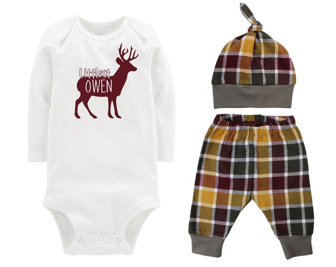 Littlest Deer Fall Personalized Outfit Plaid Buck Stag Forest Hunt Maroon Mustard Green Flannel Pants Baby Bodysuit Shirt Gift Top Knot Hat