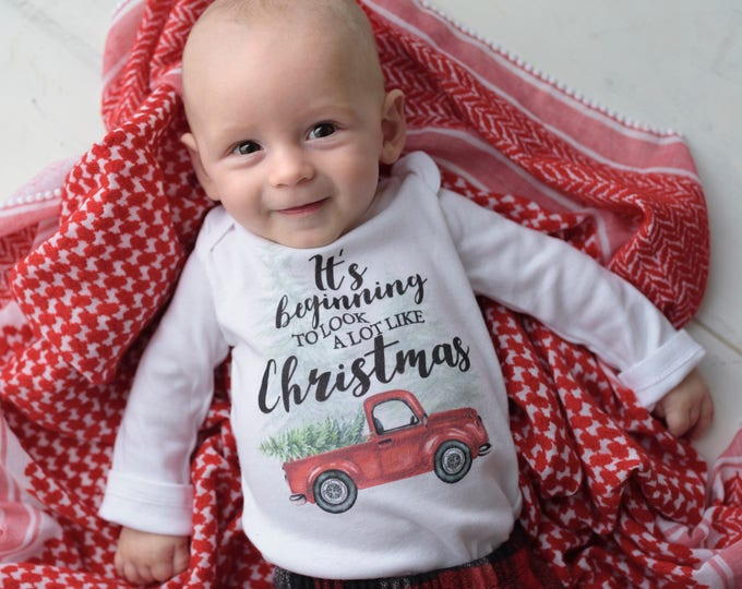 It's Beginning to Look a Lot Like Christmas Shirt Red Truck Christmas Bodysuit Boy Christmas Outfit Christmas Truck Tree Shirt Red Boy