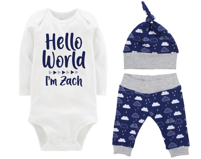 Boy Hello World Personalized Name Coming Home Outfit Onesie Bodysuit Infant Gift Set Blue Clouds Boy Going Home Set Baby Shower Gift Newborn