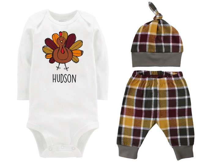 Thanksgiving Scribble Fun Turkey Fall Personalized Outfit Plaid Maroon Mustard Green Flannel Pants Baby Bodysuit Shirt Gift Top Knot Hat