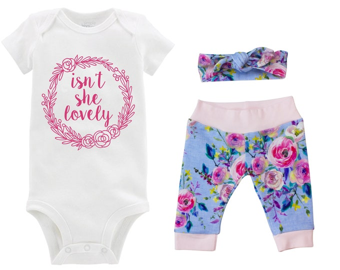 Girl Going Home Outfit Isn't She Lovely Newborn Baby Infant Set Watercolor Floral Yoga Leggings Headband Blue Floral Infant Gift Set