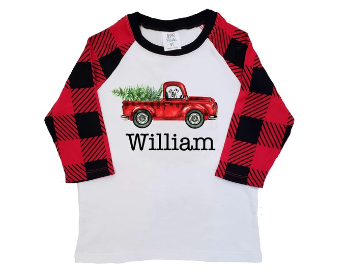 Boy Christmas Shirt Red Truck Christmas Tree Dog Personalized Buffalo Plaid Raglan Old Red Truck Boy Toddler Baby Youth Shirt Red Black