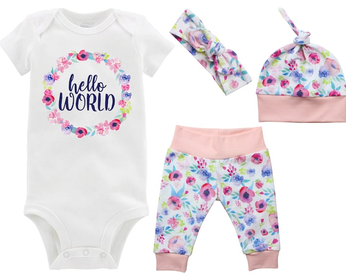 Girl Hello World Newborn Going Home Outfit Onesie Pastel Watercolor Floral Watercolor Yoga Leggings Knot Hat Headband New Baby Infant Outfit