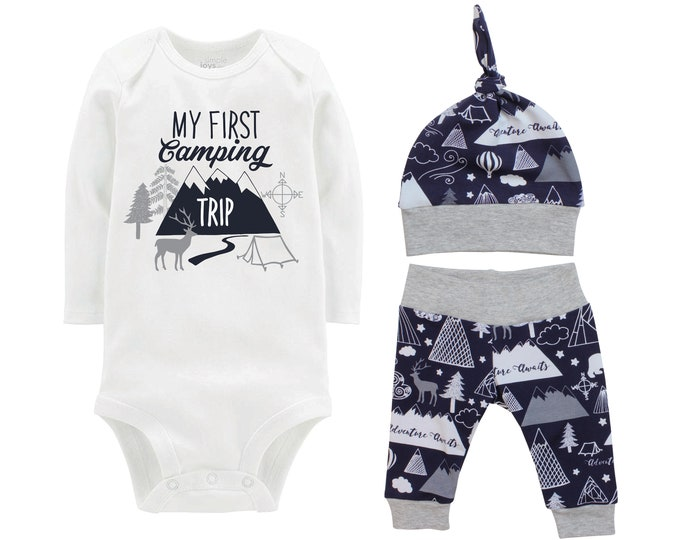 My First Camping Trip Outfit Boy Navy Gray Onesie Bodysuit Adventure Infant Gift Set Monogram Boy Coming Home Outfit Trees Tent