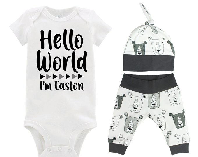 Boy Hello World Personalized Name Coming Home Outfit Bodysuit Infant Gift Set Gray Gray Bears Boy Going Home Set Baby Shower Gift Newborn
