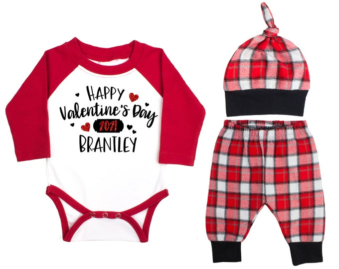 Happy Valentine's Day 2021 Red Glitter Vinyl Personalized Raglan Outfit Boy Valentines Day Bodysuit Hearts Buffalo Plaid Flannel Pants