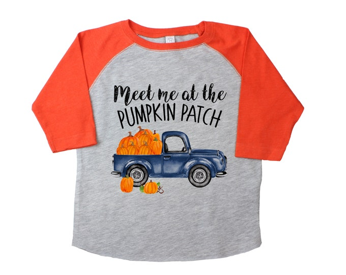 Meet Me at the Pumpkin Patch Gray Orange Raglan Old Blue Truck Boy Pumpkin Patch Shirt Boyish Fall Shirt Vintage Style Truck
