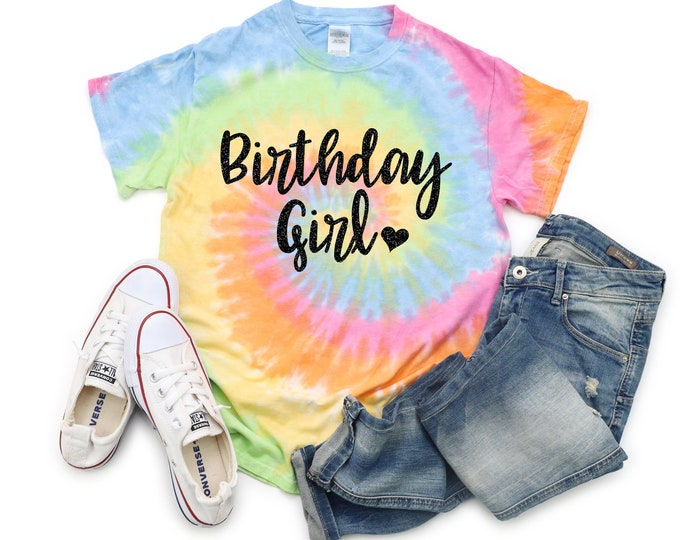 Birthday Girl Tie Dye Shirt Galaxy Bright Black Glitter Vinyl Birthday Girl Shirt Birthday Party Shirt Girl Tie Dye Birthday Shirt