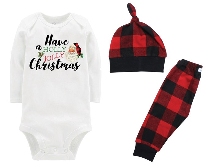 Have A Holly Jolly Christmas Plaid Santa Personalized Christmas Outfit Bodysuit Red Buffalo Flannel Pants Winter Boy Red Black Buffalo Plaid