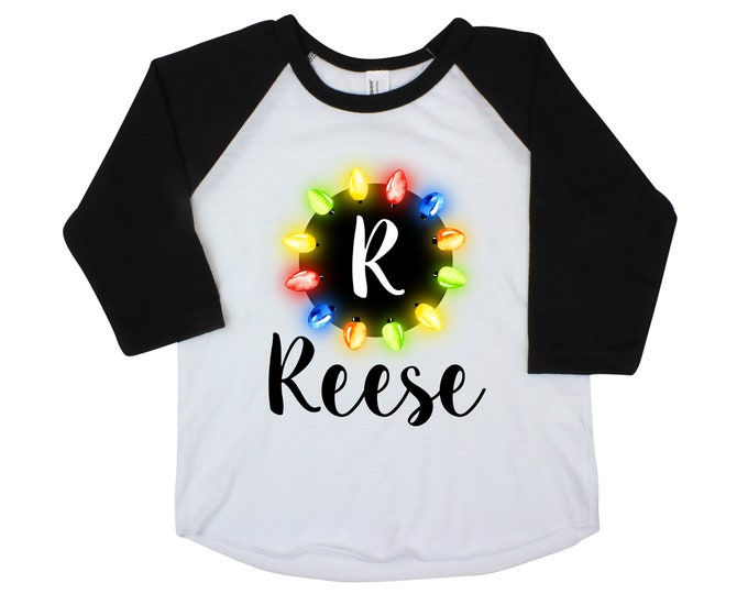 Christmas Lights Initial and Name Shirt Personalized Christmas Shirt Girl Christmas Shirt Unisex Christmas Shirt Raglan Style Long Sleeve