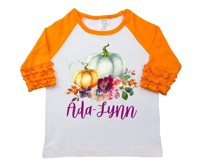 Fall Floral Pumpkin Shirt Monogram Name Personalized Watercolor Floral Girl Shirt Orange Mauve Girly Pumpkin Halloween Thanksgiving