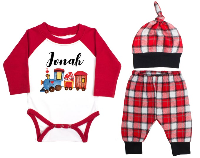 Baby Boy Valentine's Day Train Personalized Raglan Outfit Boy Valentines Day Love Hearts Train Bodysuit Baby Boy Buffalo Plaid Flannel Pants
