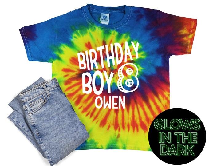 Birthday Boy Tie Dye Glow in the Dark Shirt Reactive Rainbow Tie Dye Age Birthday Party Shirt Boy Birthday Year Unisex T-Shirt