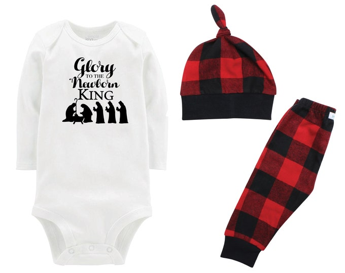 Glory to the New Born King Flannel Outfit Bodysuit Buffalo Plaid Pants Winter Baby Boy Red Black Buffalo Plaid Jesus is the Reason Faith