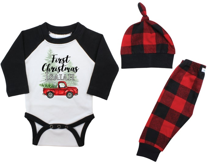 Boy First Christmas Outfit Personalized Old Red Truck Christmas Tree Raglan Outfit Bodysuit Flannel Pants Winter Boy Red Black Buffalo Plaid