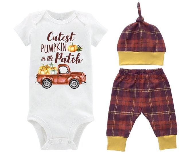 Boy Cutest Pumpkin in the Patch Fall Outfit Mustard Orange Fall Plaid Pumpkin Onesie Bodysuit Cutest Pumpkin Baby Gift Top Knot Hat Boy