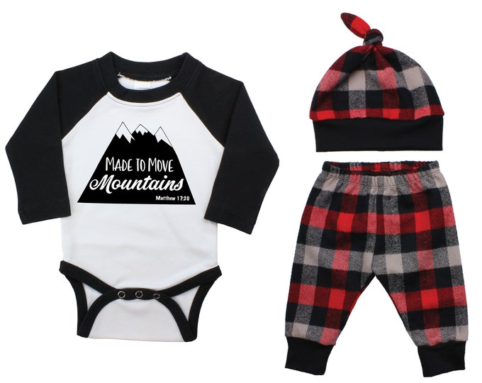Boy Coming Home Outfit Made to Move Mountains Scripture Inspirational Buffalo Plaid Pants Winter Baby Outfit Fall Baby Outfit Buffalo Check