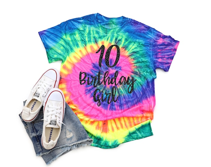 Birthday Girl Neon Tie Dye Shirt Personalized Bright Black Glitter Vinyl Birthday Girl Birthday Party Shirt Girl Tie Dye Birthday Shirt