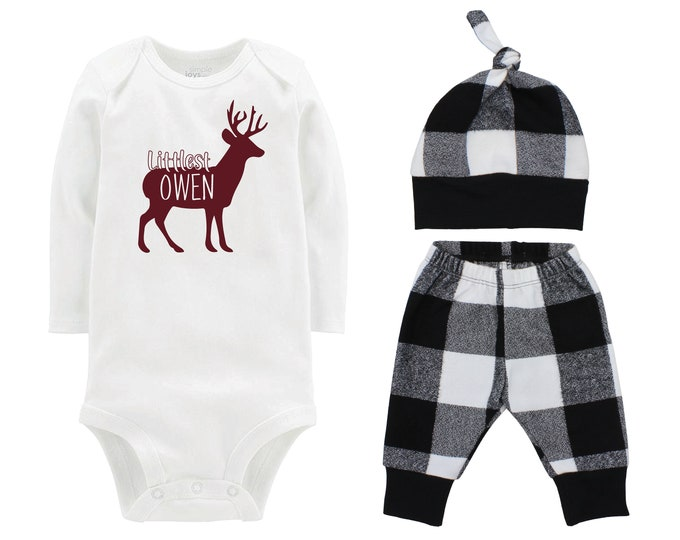 Littlest Name Deer Fall Personalized Outfit Plaid Buck Stag Silhouette Black And White Flannel Pants Baby Bodysuit Shirt Gift Top Knot Hat