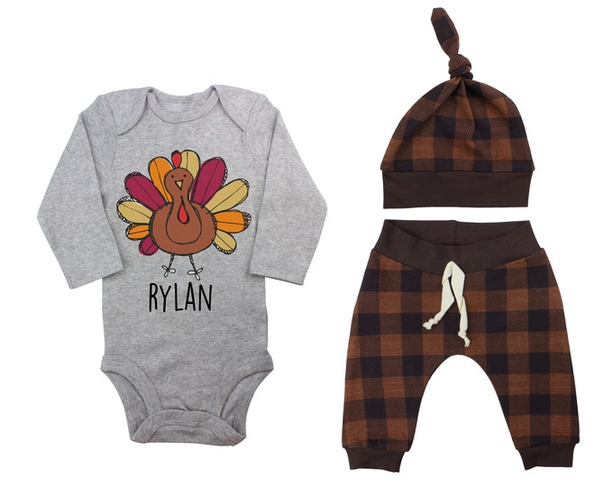 Personalized Thanksgiving Turkey Brown Plaid Cute First Thanksgiving Bodysuit Infant Gift Set Boy Coming Home Outfit Turkey Grey