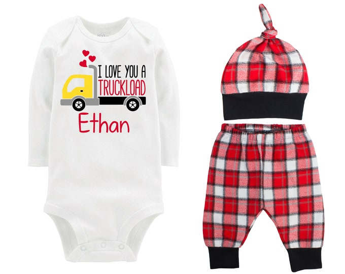 Baby Boy Valentine's Day Truck Personalized Outfit Boy Valentines Day I Love You a Truckload Bodysuit Boy Buffalo Plaid Flannel Pants