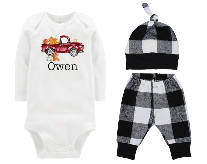 Fall Boy Pumpkin Maroon Truck Shirt Outfit Bodysuit Fall Personalized Apple Orchard Outfit Fall Plaid Pants Leggings Baby Gift Top Knot Hat