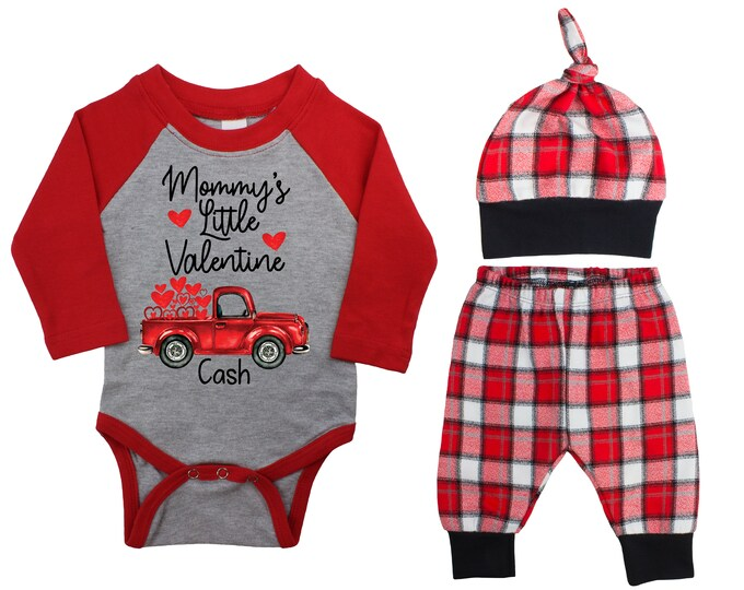Mommy's Little Valentine Day Truck Personalized Raglan Outfit Boy Valentines Day Bodysuit Hearts Vintage Truck Buffalo Plaid Flannel Pants