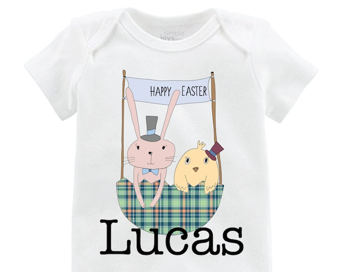 Boy Easter and Chick Shirt Raglan Personalized Baby Easter Onesie Easter Bunny Easter Bunny Shirt Monogram Name Shirt