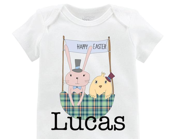 Boy Easter and Chick Shirt Raglan Personalized Baby Easter Onesie Easter Bunny Easter Bunny Shirt Monogram Name Shirt