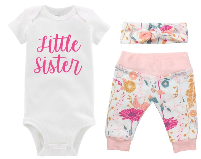 Little Sister Newborn Going Home Outfit Baby Infant Set Pink Floral Yoga Leggings Knot Headband Pink White Flower Infant Gift Set