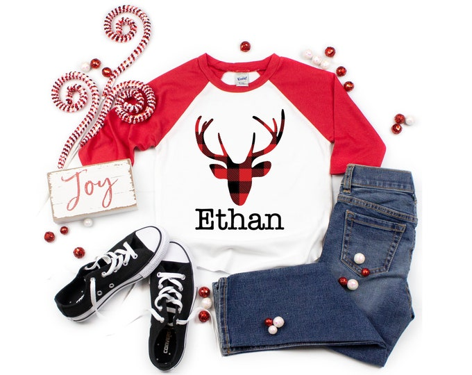 Plaid Deer Shirt Personalized Boy Shirt Red Black Buffalo Plaid Deer Boy Baby Shirt Boy Baby Boy Bodysuit Boy Raglan Shirt Red Plaid Shirt