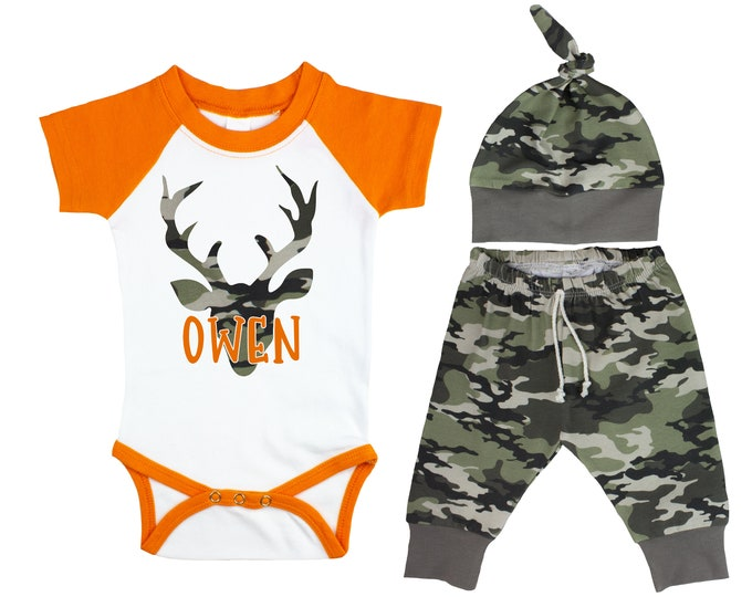 Camouflage Deer Baby Outfit Orange Raglan Camo Pants Hat Top Knot Hat Short Long Sleeves Camouflage Antlers Buck Monogram Name Personalized