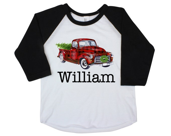Boy Christmas Shirt Red Truck Buffalo Plaid Christmas Tree Personalized Raglan Old Red Truck Name Shirt Boy Toddler Baby Youth Shirt Black