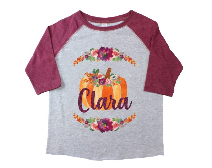 Fall Girl Pumpkin Patch Shirt Raglan Burgundy Gray Personalized Watercolor Pumpkins Flowers Thanksgiving Shirt Monogrammed Glitter