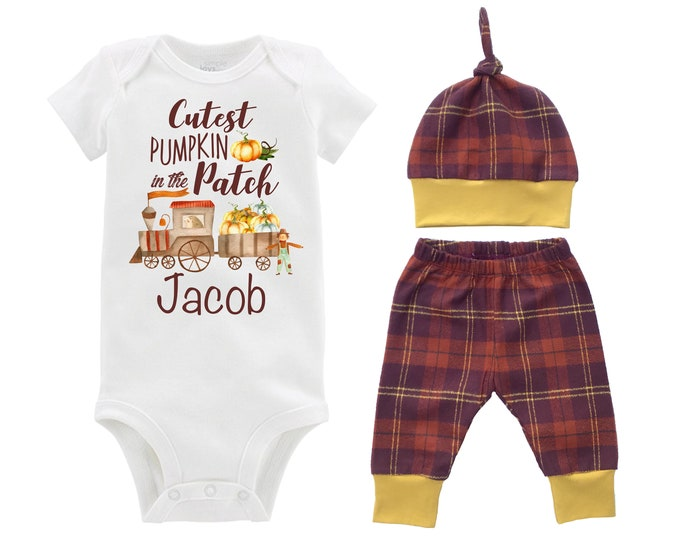 Boy Cutest Pumpkin in the Patch Fall Outfit Mustard Personalized Plaid Train Onesie Bodysuit Pants Leggings Baby Gift Top Knot Hat Boy