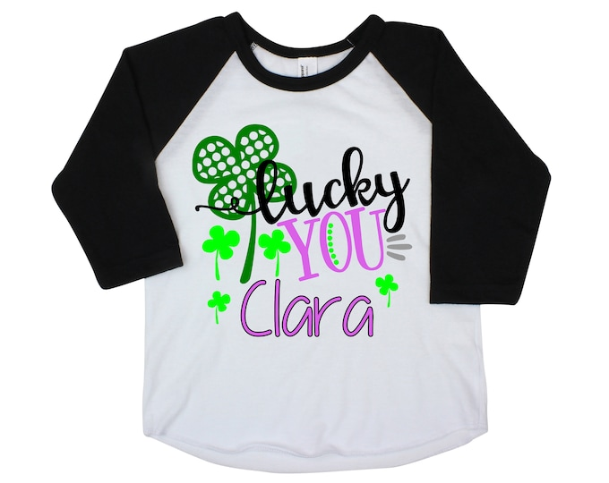 Lucky You  Girl St. Patrick's Day Shirt Personalized Name Shirt St. Patty's Day Clover Raglan Bodysuit Kid Baby Toddler Pink Green Saint