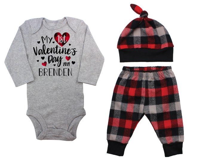 My First Valentine's Day 2021 Red Black Plaid Personalized Outfit Boy Valentines Day Bodysuit Hearts Buffalo Plaid Flannel Pants