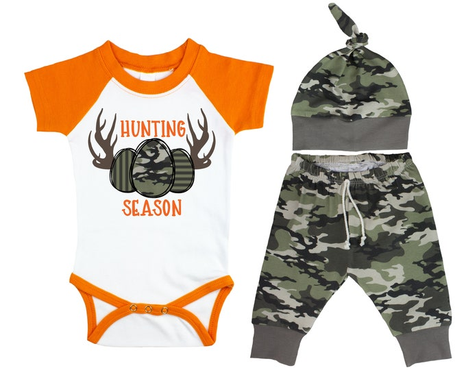 Hunting Season Boy Easter Outfit Egg Hunting Orange Raglan Camo Pants Hat Top Knot Hat Short Long Sleeves Camouflage Antlers