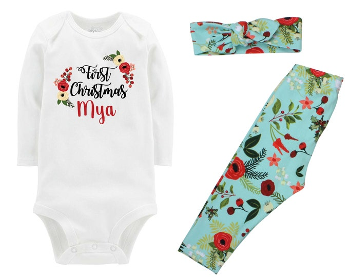 Girl First Christmas Outfit Floral Christmas Personalized Aqua Floral Leggings Gold Sparkle Holly Berries Bodysuit Knot Headband Leggings