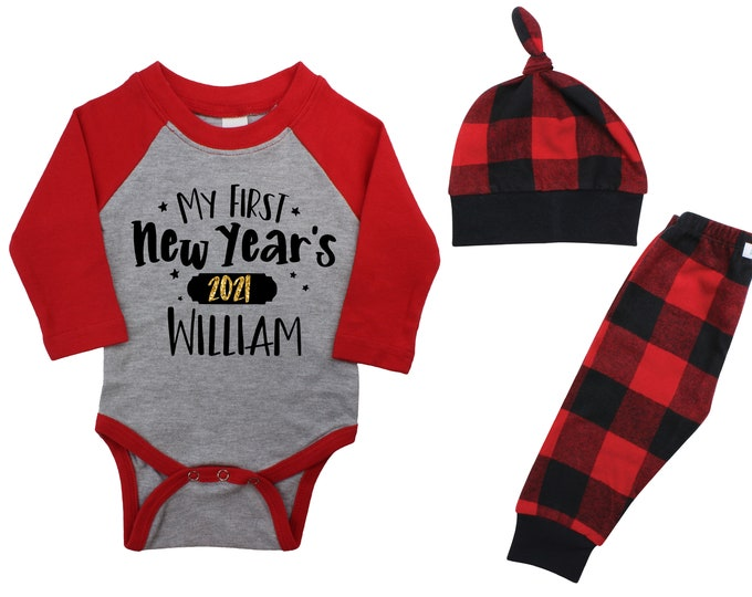 My First New Year's 2021 Personalized Black Raglan Outfit Baby Unisex Happy New Year Gold Sparkle Boy Red Black Gray Plaid Flannel Pants