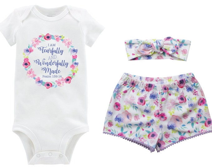 Fearfully and Wonderfully Made Outfit Shorts Headband Watercolor Floral Scripture Take Home Monogram Summer Shorts Pom Pom Shorts Outfit